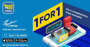 Here's how to enjoy buy-1-FREE-1 tickets at TGV Cinemas with Touch 'n Go till 31 Dec 2018