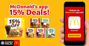 Save 15% OFF on your favourite McDonald's meals from 11th to 30th November 2018