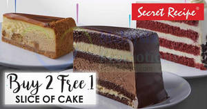 Secret Recipe is offering Buy-2-Get-1-FREE cake slices at almost ALL outlets on 25 March 2019