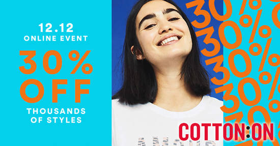 Featured image for Cotton On: 30% OFF thousands of styles + extra 15% off order coupon code valid only on 12 December 2018