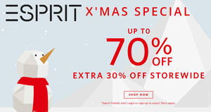 Esprit: 30% OFF regular-priced & sale items online promo till 2 Jan 2019