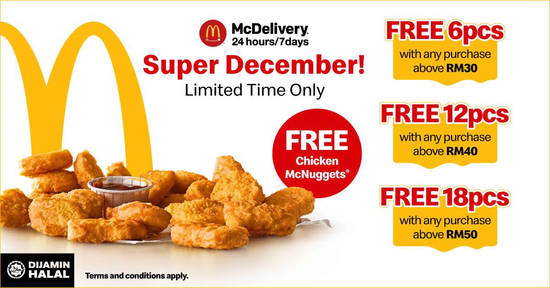 Featured image for Get up to 18-pieces of Chicken McNuggets FREE when you order via McDelivery! From 1 - 31 Dec 2018