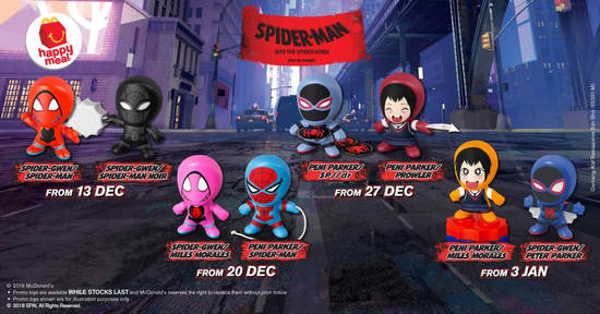 Featured image for McDonald's Spiderman Happy Meal toys are now available! New toys every week till 9 January 2019