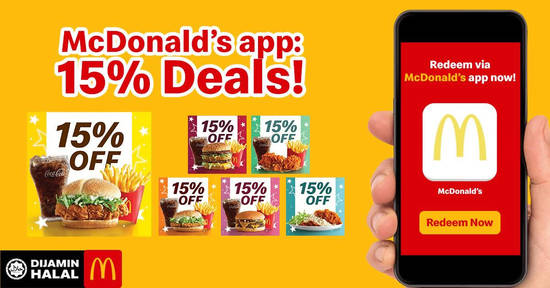 Featured image for McDonald's: Here's how to enjoy coupons worth 15% OFF on your favourite McDonald's meals till 27 Jan 2019