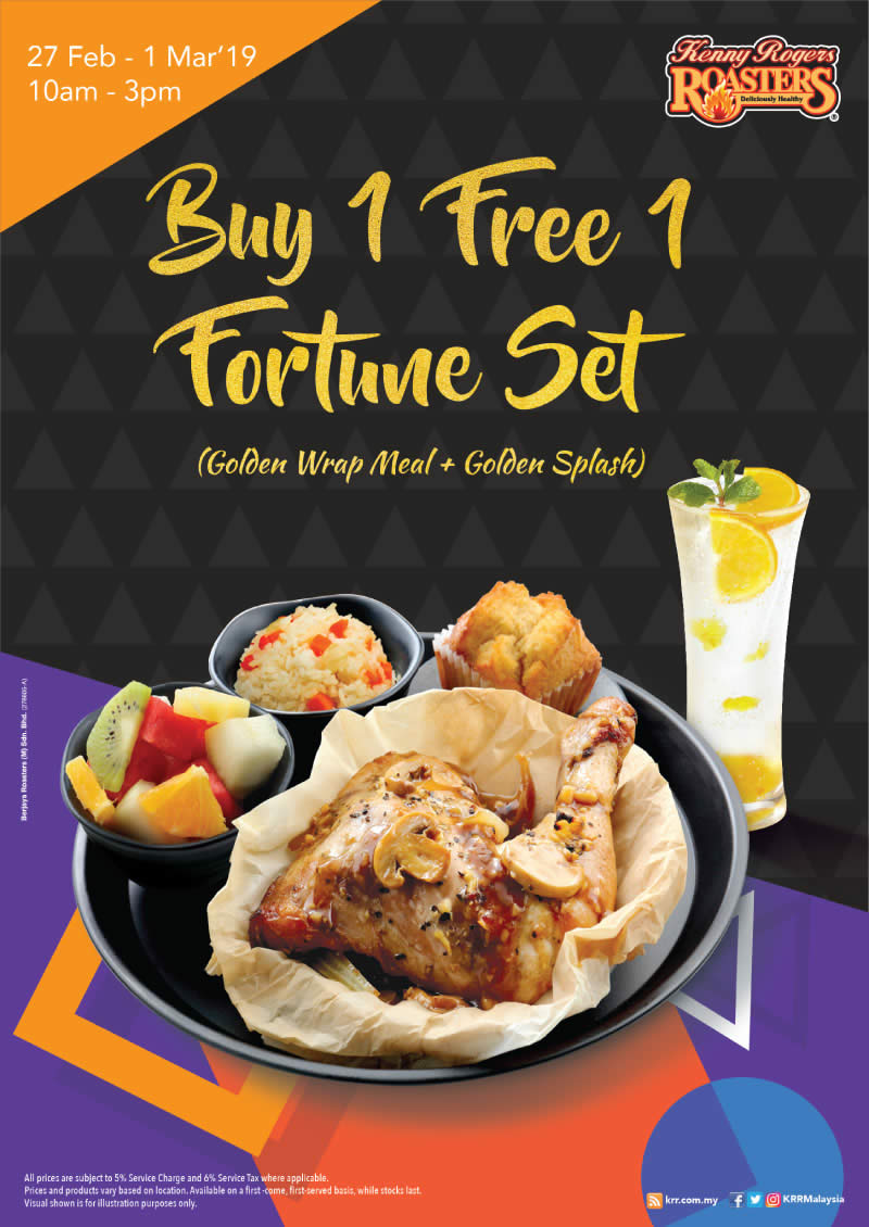 Kenny Rogers Roasters Buy 1 Free 1 Golden Wrap Meal Golden Splash From 27 Feb 1 Mar 2019