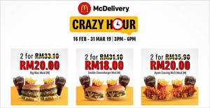 McDonald's is offering up to 60% OFF via McDelivery during Crazy Hour till 31 Mar 2019