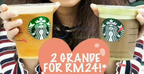 Featured image for Starbucks: RM22 / RM24 for any two Grande handcrafted beverages on 14 Feb 2019