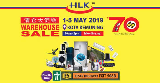 Featured image for HLK up to 70% off warehouse sale at Kota Kemuning Shah Alam from 1 - 5 May 2019
