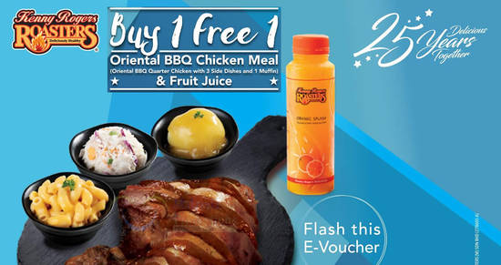 Featured image for Kenny Rogers ROASTERS: Buy-One-FREE-One Oriental BBQ Chicken Meal + Fruit Juice combo from 24 - 26 April 2019