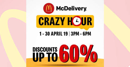 Featured image for Check out the latest McDelivery Crazy Hour deals! Valid from now till 30 April 2019