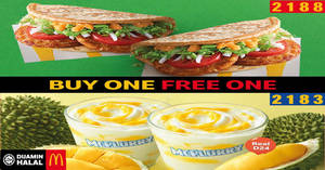 Featured image for McDonald's is offering Buy-One-Get-One-FREE Chicken Foldover & Durian Mcflurry from 16 May 2019