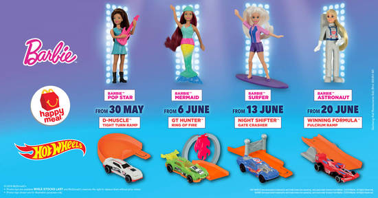 Featured image for McDonald's latest Happy Meal toys features Barbie and Hot Wheels! From 30 May - 26 Jun 2019