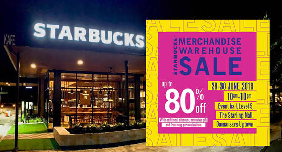 Featured image for Starbucks Merchandise Warehouse Sale at The Starling Mall from 28 - 30 June 2019