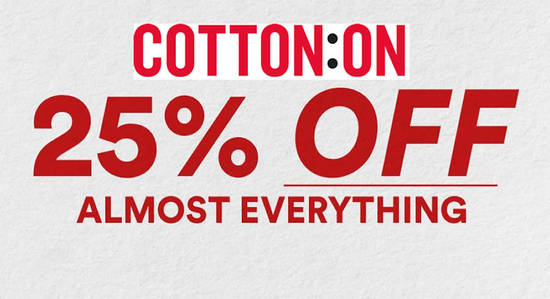 Featured image for Cotton On: 25% OFF almost everything one-day sale at online store till 29 October 2019