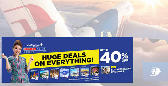 Featured image for Malaysia Airlines MATTA Fair is back with better discounts of up to 40% off airfares! Book by 9 September 2019