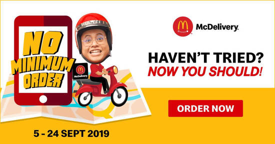 Featured image for McDelivery No Minimum Order Promotion till 24th September 2019