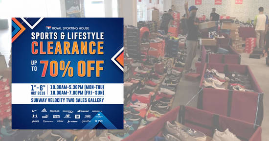 Featured image for Royal Sporting House Sports & Lifestyle Clearance Sale from 1 - 6 Oct 2019