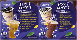 Tealive Buy-One-FREE-One at selected outlets from 23 – 25 Sept 2019