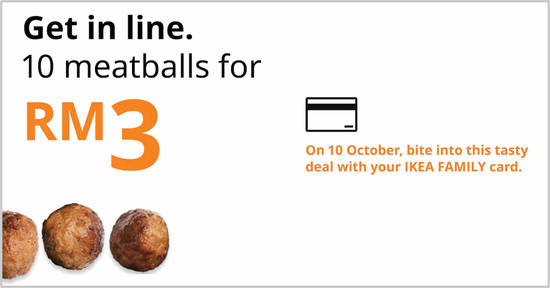 Featured image for IKEA Malaysia will be offering 10 meatballs for RM3 on 10 October 2019