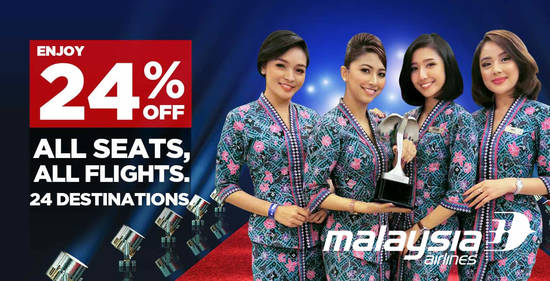 Featured image for Malaysia Airlines FLASH SALE! Enjoy 24% off all seats, all flights, across 24 destinations only on 5th October 2019