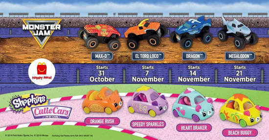 Featured image for McDonald's latest Happy Meal toys features Monster Jam & Shopkins Cutie Cars toys with till 27 Nov 2019