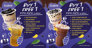 Tealive Buy-One-FREE-One at over ten selected outlets from 21 – 23 October 2019