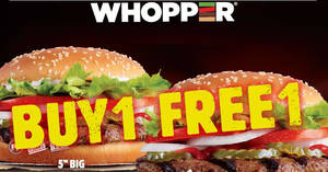 Burger King: Buy 1 and get 1 for free WHOPPER® burger till 28th November 2019
