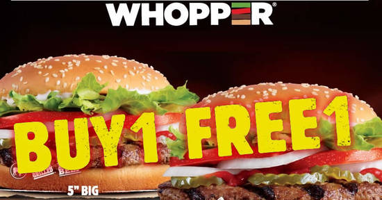 Featured image for Burger King: Buy 1 and get 1 for free WHOPPER® burger till 28th November 2019