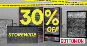 Featured image for Cotton On: 30% OFF reg-priced items of ALL brands (inc Body, Rubi, Typo, etc)! From 27 Nov – 1 Dec 2019