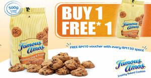 Featured image for Famous Amos: Buy-One-FREE-One 500g cookies in a bag 11.11 Single's Day Promo from 8 Nov – 15 Nov 2019