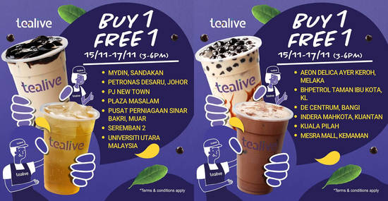 Featured image for Tealive Buy-One-FREE-One at over ten selected outlets from 15 - 17 November 2019