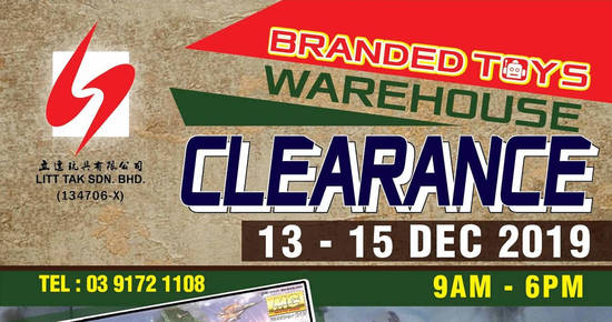Featured image for Litt Tak branded toys warehouse clearance at Cheras, Kuala Lumpur from 13 - 15 Dec 2019