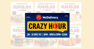 Featured image for McDelivery Crazy Hour Deals From 30 – 31 December 2019