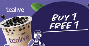 Tealive Buy-One-FREE-One at over 10 selected outlets from 17 – 19 February 2020