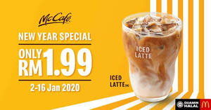 Featured image for McCafe New Year Special – RM1.99 Iced Latte! Valid till 16 Jan 2020