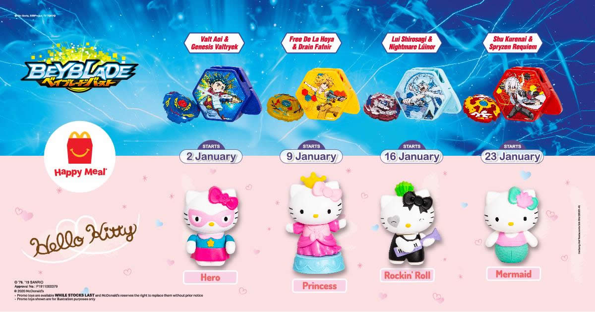 Mcdonald S Latest Happy Meal Toys Features Beyblade And Hello Kitty Till 29 Jan 2020