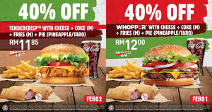 Save 40% off Burger King's Whopper® with Cheese/Tendercrisp with Cheese with a Pie of your choice (17 – 23 Feb)