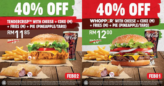 Featured image for Save 40% off Burger King's Whopper® with Cheese/Tendercrisp with Cheese with a Pie of your choice (17 - 23 Feb)