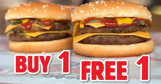 Featured image for Burger King: Get Two Double Cheeseburger burgers at the price of one (3 - 6 Feb 2020)