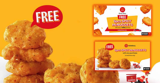 Featured image for McDonald's is giving away FREE 6pc Spicy McNuggets for McDelivery and Drive-Thru orders (From 13 Feb 2020)