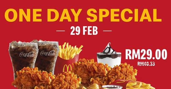 Featured image for One Day Special via McD App! Enjoy great savings on 29 February with unbeatable deals from RM2.90 on 29 Feb 2020