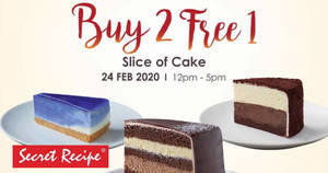 Secret Recipe will be having a Buy-2-Get-1-Free slice of cake deal at most outlets on 24 February 2020