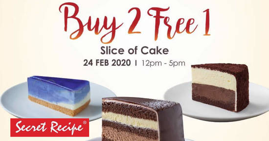 Featured image for Secret Recipe will be having a Buy-2-Get-1-Free slice of cake deal at most outlets on 24 February 2020