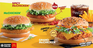 Try the NEW Grand McChicken and Spicy McChicken burger today at McDonald's (From 24 Feb '20)