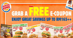 Featured image for Burger King: Save BIG with the latest e-coupon deals valid till 15 April 2020