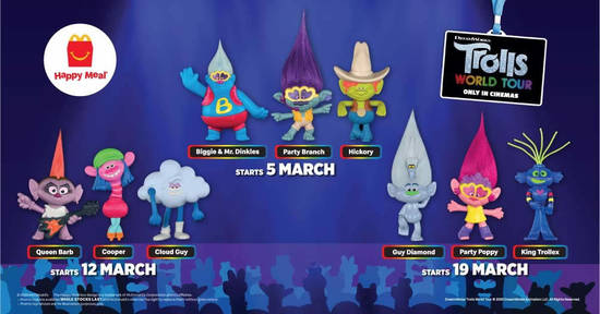 Featured image for McDonald's: Get a FREE Trolls World Tour toy with every Happy Meal purchased from 5 - 25 March 2020