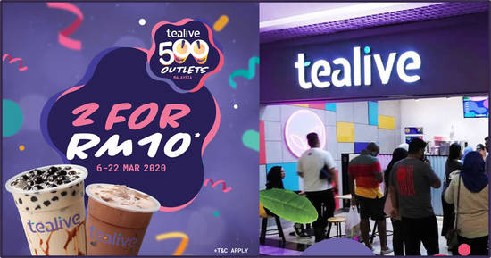 Featured image for Tealive: Enjoy TWO of your favourite brews for only RM10 (6 - 22 March '20)