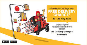 Featured image for McDelivery FREE Delivery Charge Promo till 22 July 2020