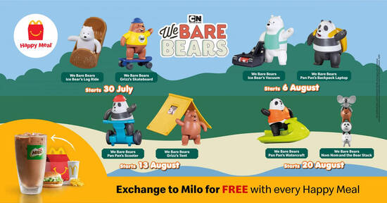Featured image for McDonald's now offers We Bare Bears toys FREE with purchase of a Happy Meal till 26 August 2020