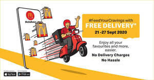 Featured image for McDelivery FREE Delivery Promo from 21 – 27 September 2020